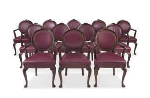 A set of twelve imbuia and upholstered vinyl armchairs, 20th century