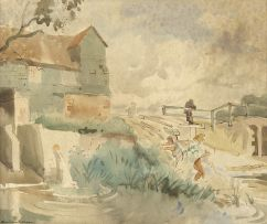 English School 20th century; House with a Pond