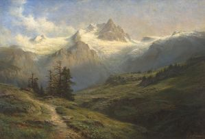 Leberecht Lortet; Paysage de Montagne
