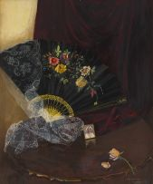 Vernon Spencelayh; Still Life with Fan and Flowers