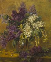 French School 20th Century; Lilac in a Vase