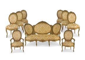 A Louis XVI style giltwood and upholstered salon suite, 19th century