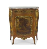 A Louis XV style gilt-metal mounted kingwood and Vernis Martin meuble d'appuis, late 19th/early 20th century