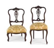 Two Edwardian mahogany and upholstered side chairs, late 19th/early 20th century