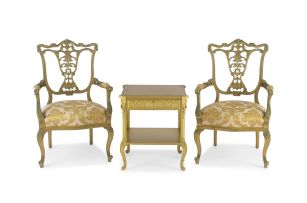 A pair of French giltwood and upholstered armchairs, early 20th century