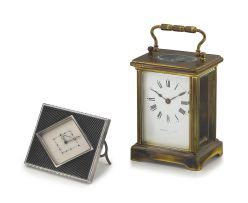 A French brass carriage clock, retailed by Mappin & Webb Ltd, Paris, circa 1900