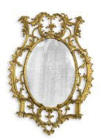 A chinnoiserie style gilt gesso mirror, late 19th/early 20th century
