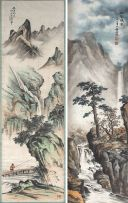 A Chinese ink and colour scroll painting