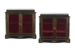A pair of Louis XVI style ebonised and ormolu-mounted boulle side cabinets, 19th century