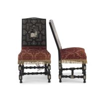 A pair of Italian ebonised and ivory inlaid side chairs, in the manner of Ferdinand Pogliani, Milan, 19th century