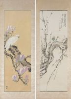 A Japanese ink and colour on paper scroll painting