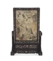 A Chinese Export ebonised, hardwood and mother-of-pearl inlaid table screen, late 19th century
