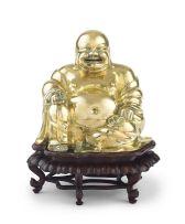 A large Chinese brass figure of Pu-Tai, late 19th century