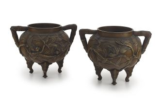 A pair of Japanese bronze two-handled bowls, late 19th century