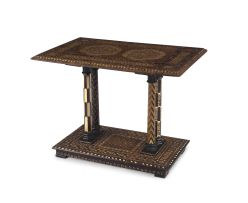 A Middle Eastern ebonised fruitwood, marquetry and bone-inlaid table, 19th century