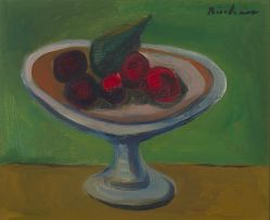 Carl Büchner; Still Life with Fig and Stone Fruit