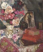 Maud Sumner; Still Life with Roses, Books and a Photograph