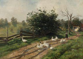Kitty Lange Kielland; Farm Road with Flock of Geese