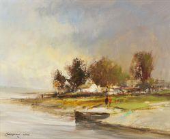Christiaan Nice; Rowing Boat at Water's Edge