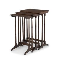 A nest of three Regency style simulated and painted rosewood and mahogany tables, 19th/20th century