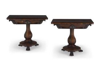 A pair of Victorian rosewood card tables