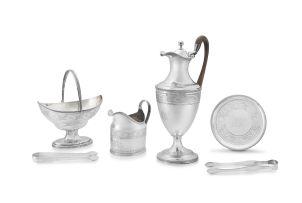 A George III assembled silver coffee set, Peter & Ann Bateman, London, 1794-1799
