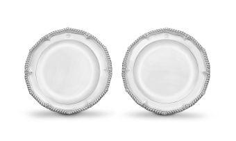 A pair of George III silver dinner plates, Paul Storr, London, 1807