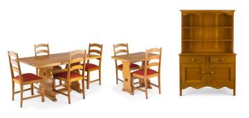 An oak dining room suite, 20th century