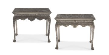 A pair of George II style silvered side tables, 20th century