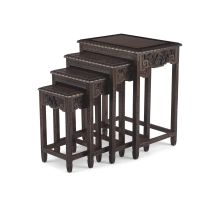 A nest of four Chinese teak side tables, 20th century