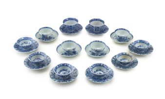 Four Chinese blue and white tea bowls and saucers, Qianlong 1735-1796