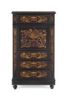 A Dutch marquetry and ebonised secrétaire à abbatant, late 19th century