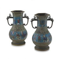 A pair of Chinese champlevé enamelled vases, late 19th/early 20th century