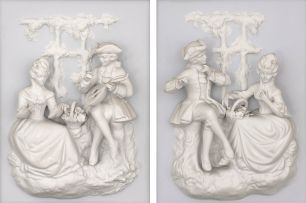 Two French porcelain wall plaques, 19th century