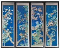 A set of four Chinese ink and colour on paper scroll paintings, early Republic period