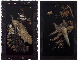 A Japanese hardwood, lacquered, ivory and Shibayama inlaid panel, late Meiji period