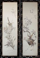 A pair of Chinese embroidered silk panels, 20th century