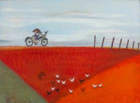 Pieter van der Westhuizen; Bicycle Ride Along Country Fields
