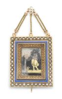 Enamel and seed-pearl novelty gold easel, probably French, late 19th century