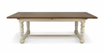 A refectory style oak painted table retailed by Block and Chisel, modern