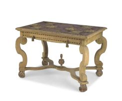 A George II style painted and fabric-covered table