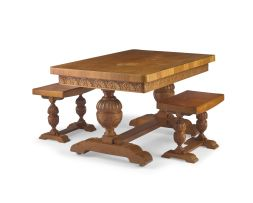 A Jacobean-style teak refectory style table, manufactured by Pritchard & Co Ltd, Penang, Ipoh & Sungei Patani, 19th century