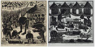 Peter Mwahalukange; Shitu da Nongahedi and Kavango Men Carving Wood, two