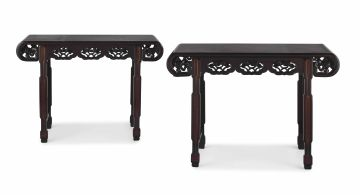 A pair of Chinese Export hardwood and burlwood side tables