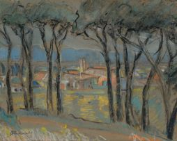 Alice Tennant; View of Buildings through Trees