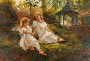 Marié Vermeulen-Breedt; Sisters in a Garden