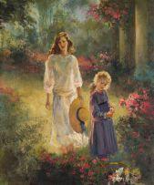 Marié Vermeulen-Breedt; Mother and Daughter in a Garden