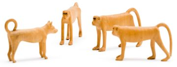 Julius Mfethe; Three Monkeys and a Dog