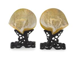 A pair of Chinese carved mother-of-pearl shells, early 20th century