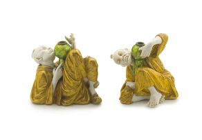 A pair of Royal Worcester 'chinoiserie' juglers, 1882